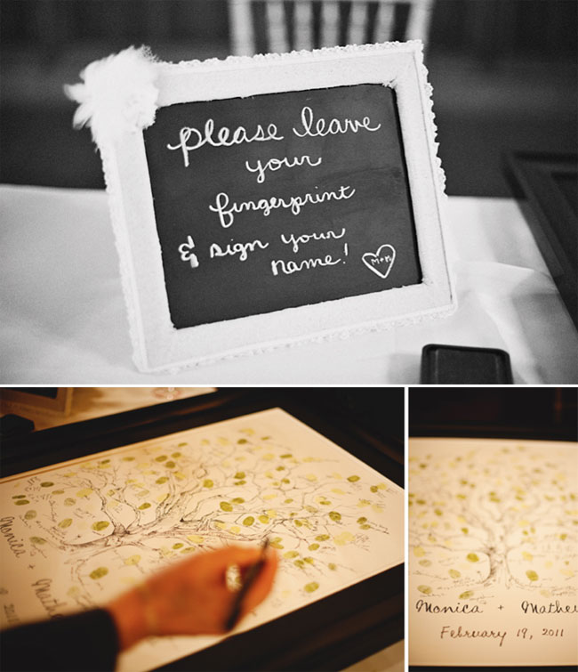 chalkboard sign and wedding guestbook tree with fingerprints for guests to sign