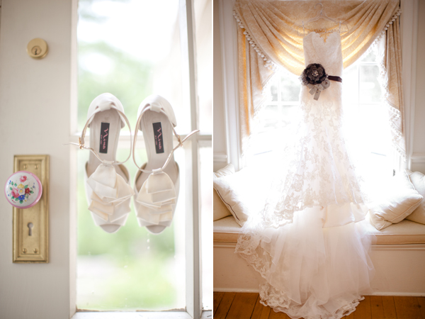 bride's heels and ruffled wedding dress
