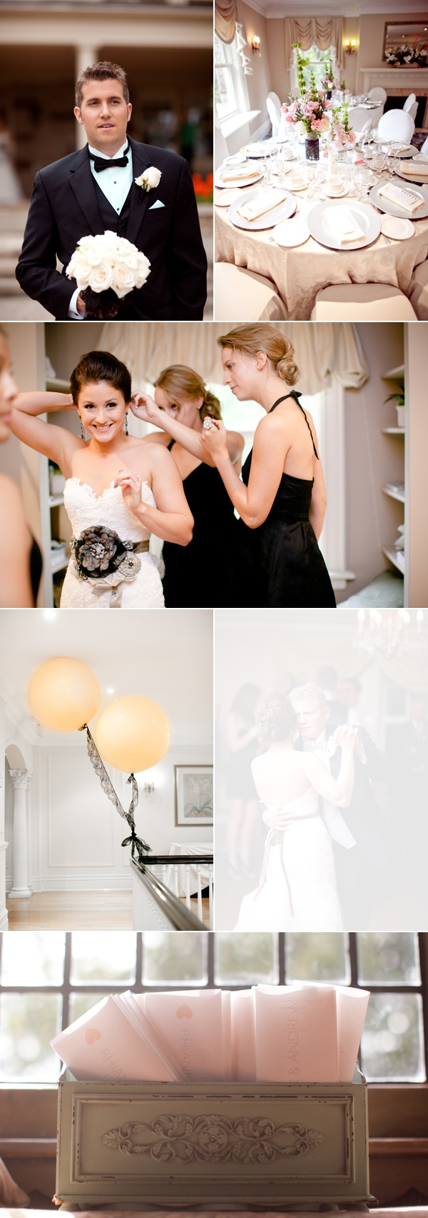 groom holding bouquet;  reception tables; bridesmaids helping bride get ready; balloons on banister of Mansion; personalized cards