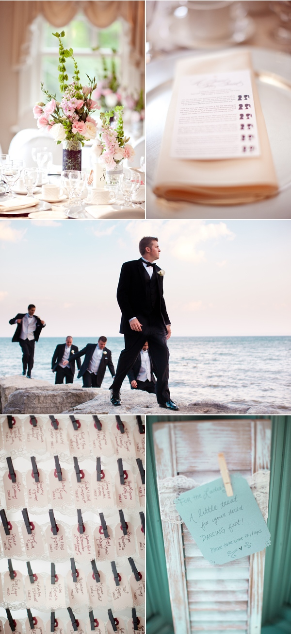table flowers; groom and groomsmen exploring  lake before the wedding at Paletta Mansion; seating cards; sign for flipflops for ladies