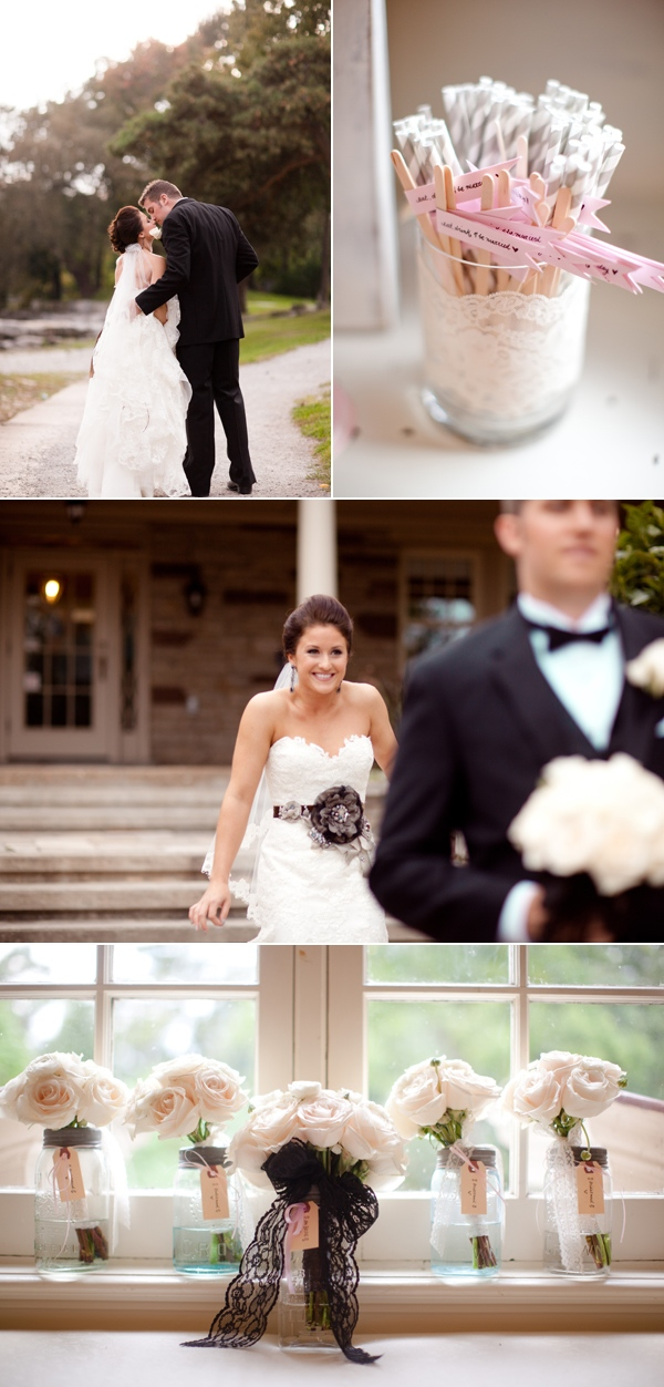 bride and groom kissing; bride sneaking up on groom; bridal pary flower bouquets