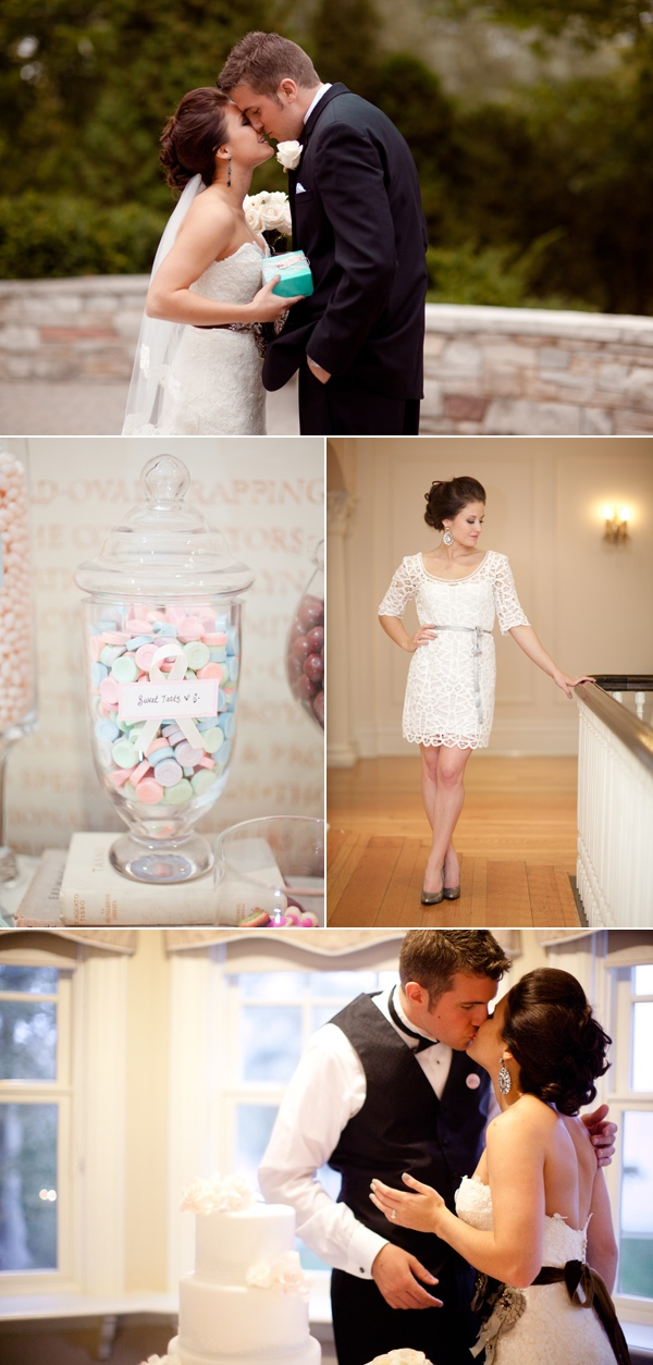 bride and groom kissing; candy jar for guests; bride in short white dress