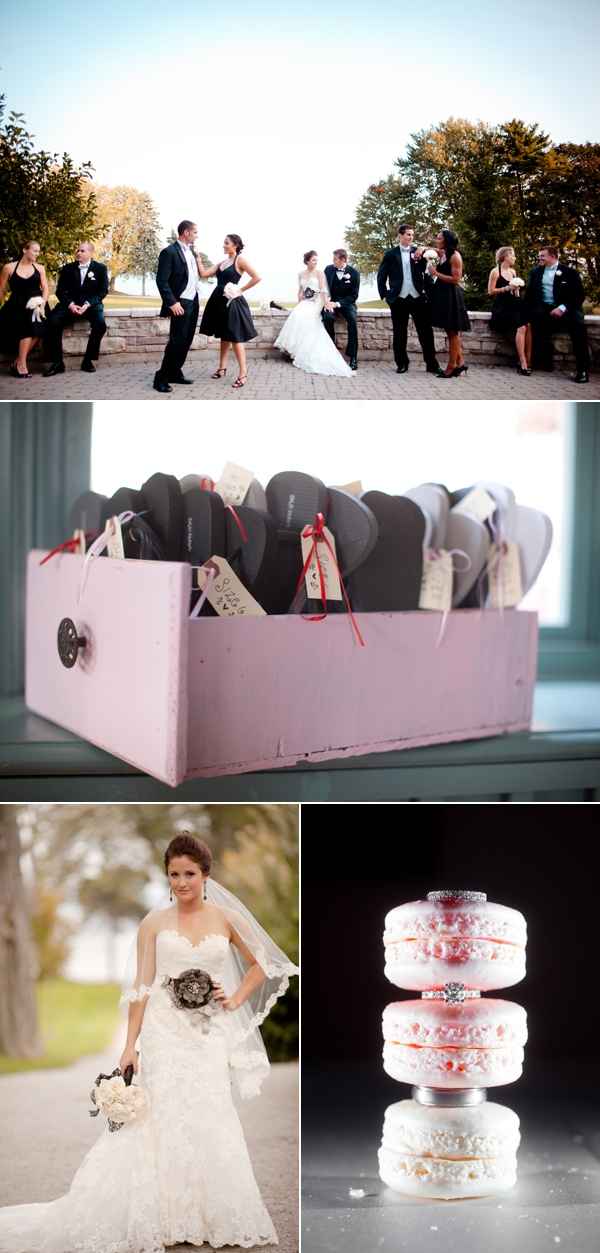 bridal party against stone wall; box of flip flop favors; bride in ruffled gown and black flower sash; rings displayed in macaroon -type sandwich