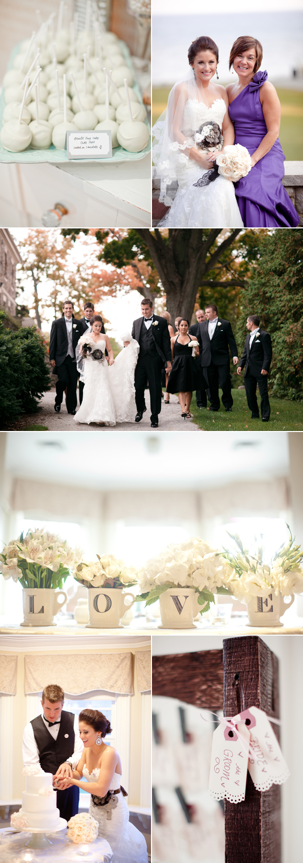 "tray of candy pops; bridal party walking down tree-covered lane; ""love"" steins holding flowers; cutting cake"