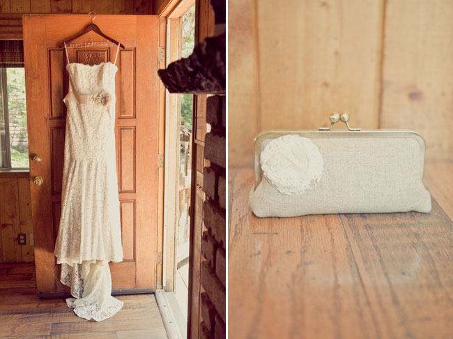 vintage purse and wedding gown hanging on log cabin door