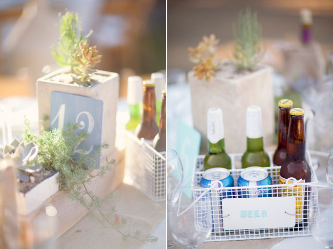 beer baset centerpiece with succulents in wood box