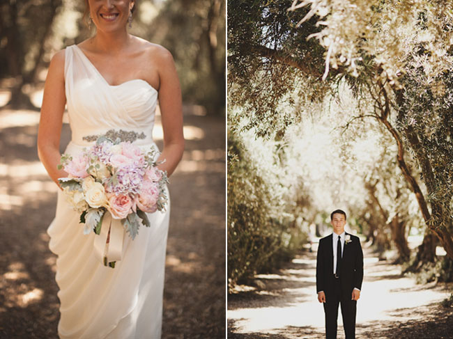 bride stands on path holding bridal bouquet