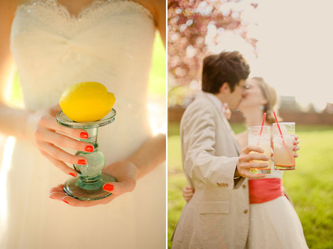 holding a real lemon perched on glass pedistal (left). Couple kiss while holding out lemonade glasses (right)