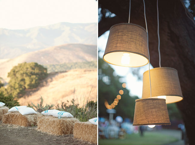 outdoor hay bails with pillows overlook California mountains at Orella Ranch