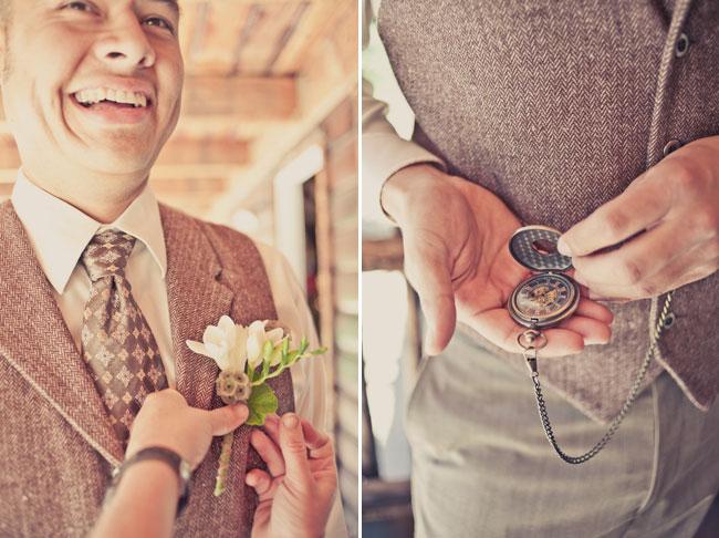 Groom wearing an old pocket watch