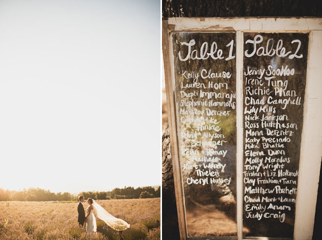 bride and groom in sun drenched lavender field (left) . Table number written on old glass door in white (right).
