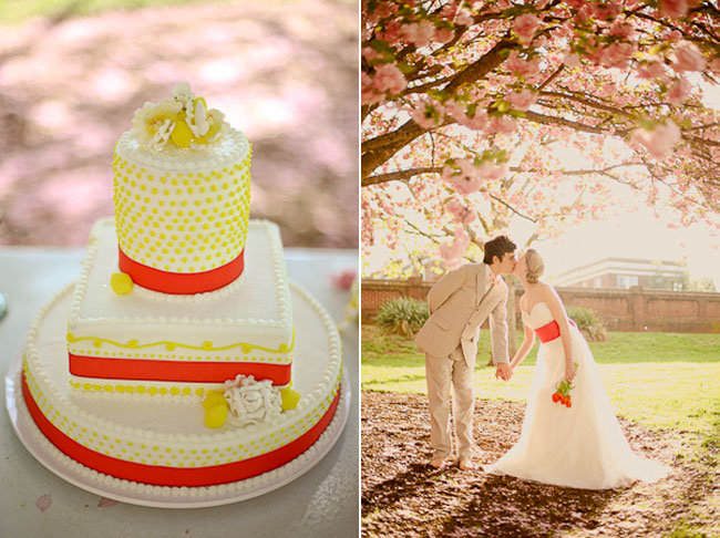 lemon dot round and square cake with red ribbons (left). Couple kiss under cherry blossom tree canopy (right)