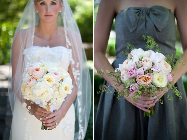 photos of pink bridal bouqet and bridesmaid bouquet