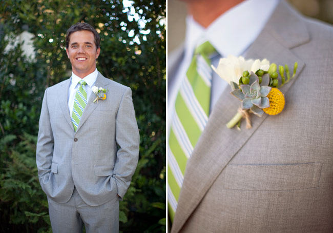 groom in grey suit with billy ball boutonniere