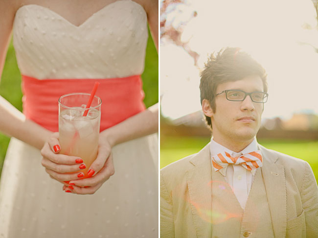 holding a glass of lemonade with both hands (left) guy with orange and white striped bow tie (right)