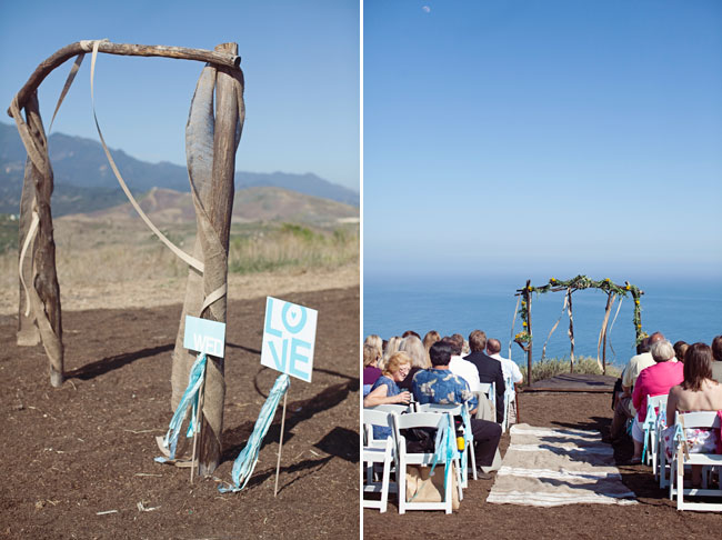 outdoor wedding ceremony at Orella Ranch with driftwood altar