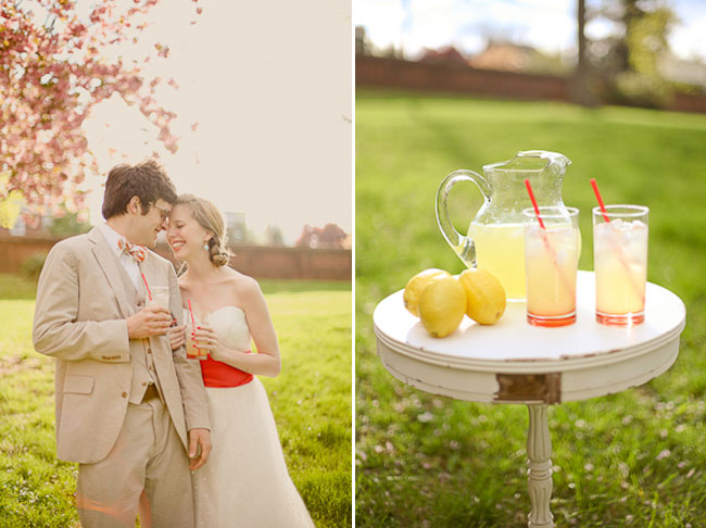 Pucker up styled shoot: lemonade glasses, jar, and lemons on vintage white table