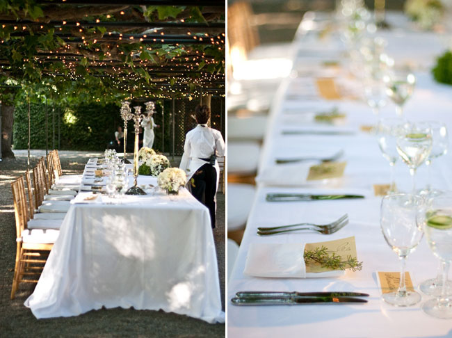Elegant table settings for Beaulieu Garden wedding reception in Napa Valley