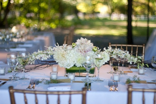 flower centerpiece for wedding at Beaulieu Garden