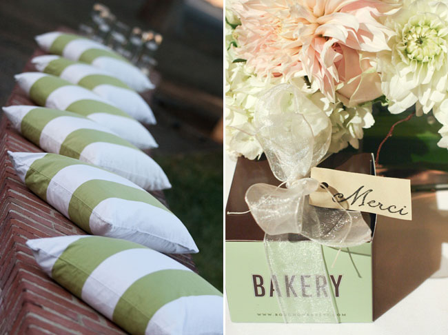 white and green cusions on brick wall (left). Brown and mint color bakery box with flowers (right)