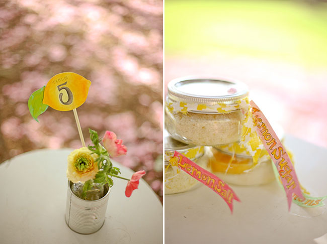 lemon sugar and salt in canning jars on table with lemon table number