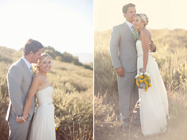 bride and groom in soft sunlit field