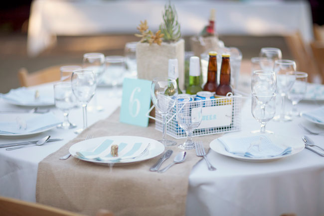 outdoor table setting with burlap runner