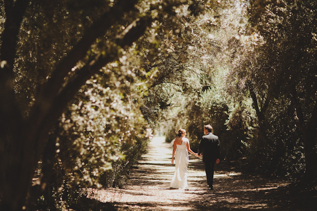 bride and groom walk holding hands on pathway at Highland Springs Resort
