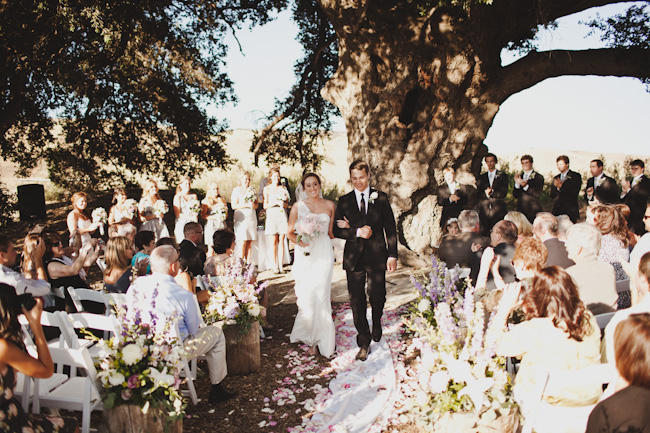 Bride and groom outdoor recessional at Highland Springs Resort, giant old tree in background