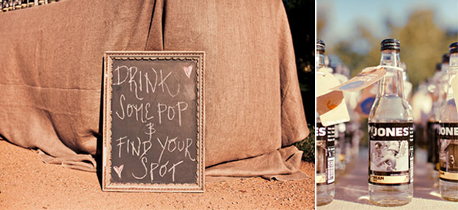Chalk board sign for wedding reception drink some pop and find your spot and jones soda
