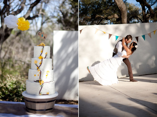 wedding cake with yellow accents at The Gardens at West Green