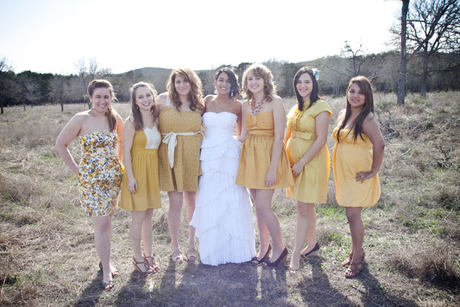 outdoor yellow wedding bridesmaid dresses