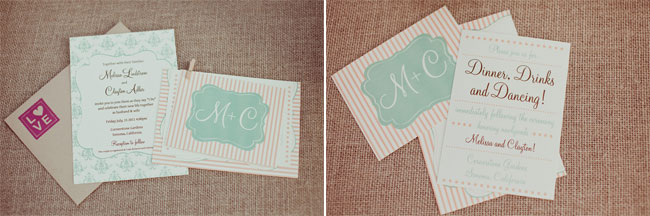 Pink stripe and mint green wedding invitations