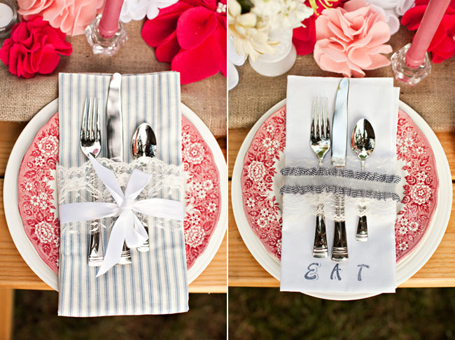 napkin and cutlery tied with lace ribbon and bow on red pattern plate