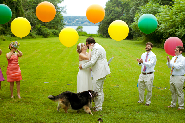 Balloon Ceremony - Bride and Groom Kiss under giant balloons