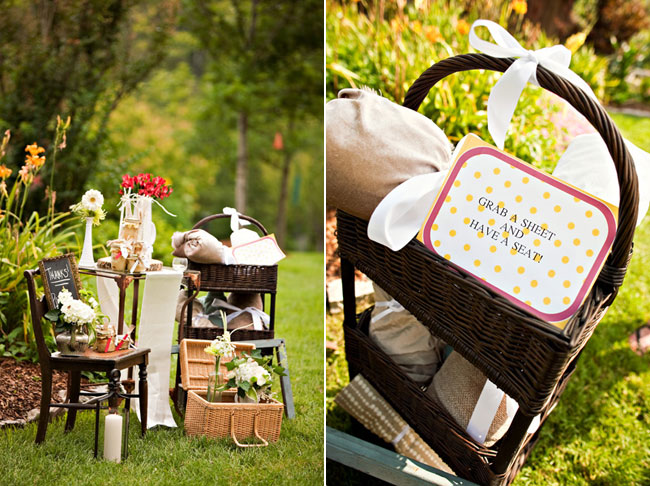 DIY picnic wedding shoot decor and details
