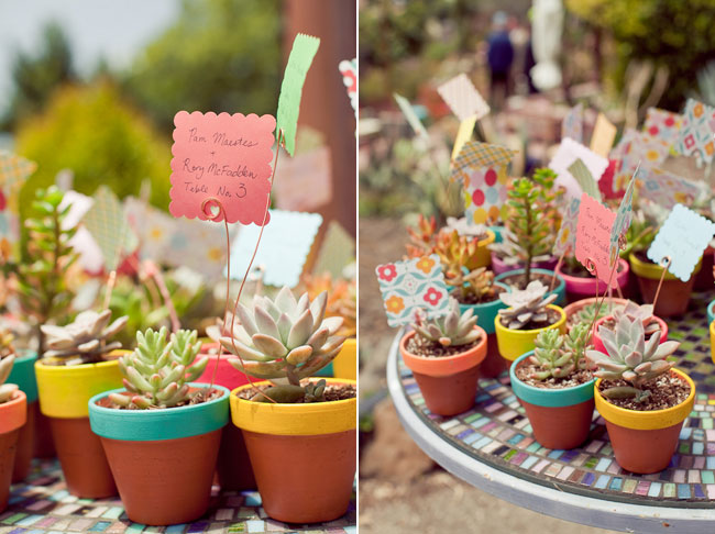 DIY potted succulent table numbers
