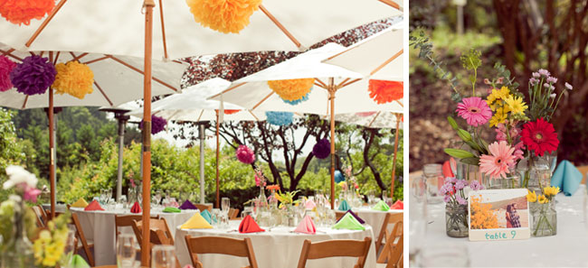 colorful pompom decor at reception