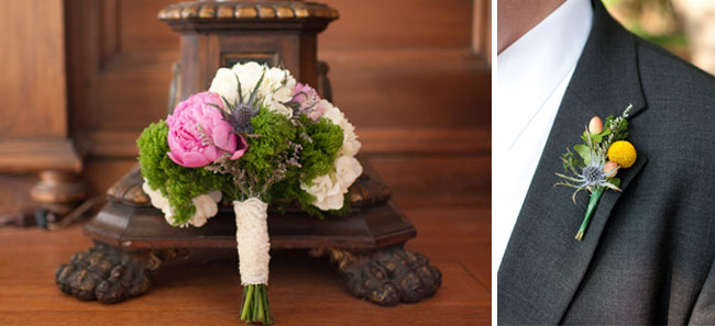 Pink peony, white flowers with purple thistle and green moss wedding bridal bouquet wrapped with white lace (left photo); Groom wearing grey suit and a boutonniere with thistle and yellow billy ball (right photo)
