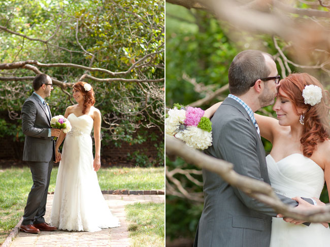 Bride in A-line strapless gown and white flower in her hair and groom in grey suit with brown dress shoes and hold a Pink peony, white flowers with purple thistle and green moss wedding bridal bouquet holding hands (left photo); Bride in A-line strapless gown and white flower in her hair and holding Pink peony, white flowers with purple thistle and green moss wedding bridal bouquet. Groom in grey suit with brown dress shoes and kissing brides for head.