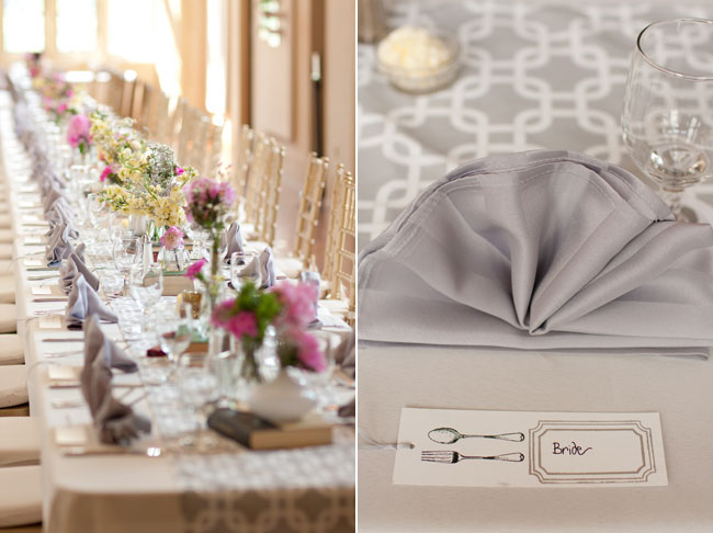 Wedding at Virginia Center for Architecture -reception with gray and white patterned table runner, grey folded napkins, pink flowers in white vase centerpeices atop vintage book (left photo); Grey folded napkins at wedding reception place setting with white and gray table runner and a white piece of paper guest place card tag with fork and spoon
