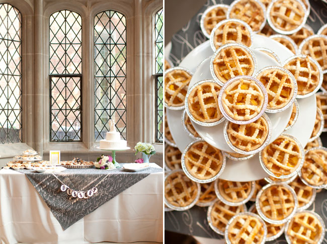 Wedding reception dessert table at Virginia Center for Architecture with grey and white table cloth covered with wedding cake and desserts infront of old window with pattern (left photo); mini pumpkin pies on wedding reception table (right photo)