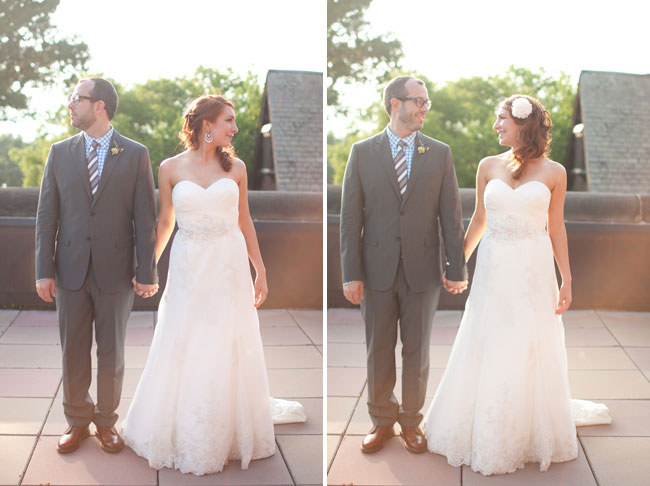 Bride in A-line strapless gown and white flower in her hair holding groom's hand who is wearing a gray suit with brown dress shoes, stripped tie and yellow billy ball with purple thistle boutonniere (both photos)