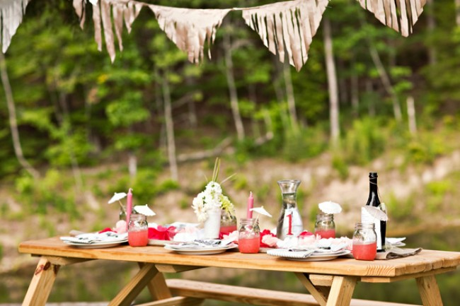 picnic table with wedding shoot setting