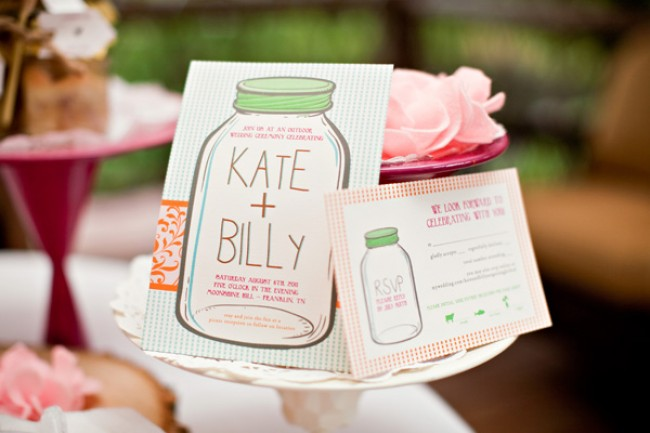 DIY mason jar invitations