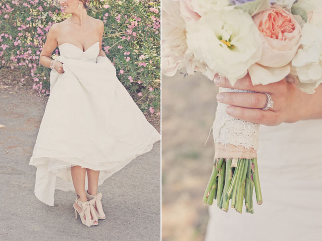 Soft cream and pinks in this bridal bouquet with bride wearing a strapless gown and high heel shoes