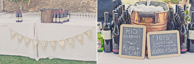 wine bottles and glasses on wedding table for vineyard wedding at Sogno Del Fiore