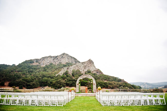 outdoor wedding ceremony setup at Holland Ranch in California