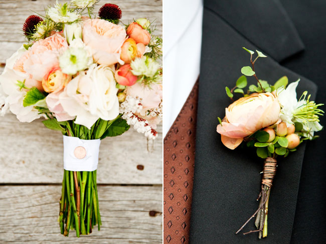 wedding bouquet and groom's boutonniere