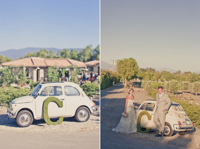 Bride and groom stand next to vintage punch buggy on a sunny day at Sogno Del Fiore